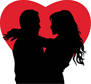 Love Couple with Red Heart
